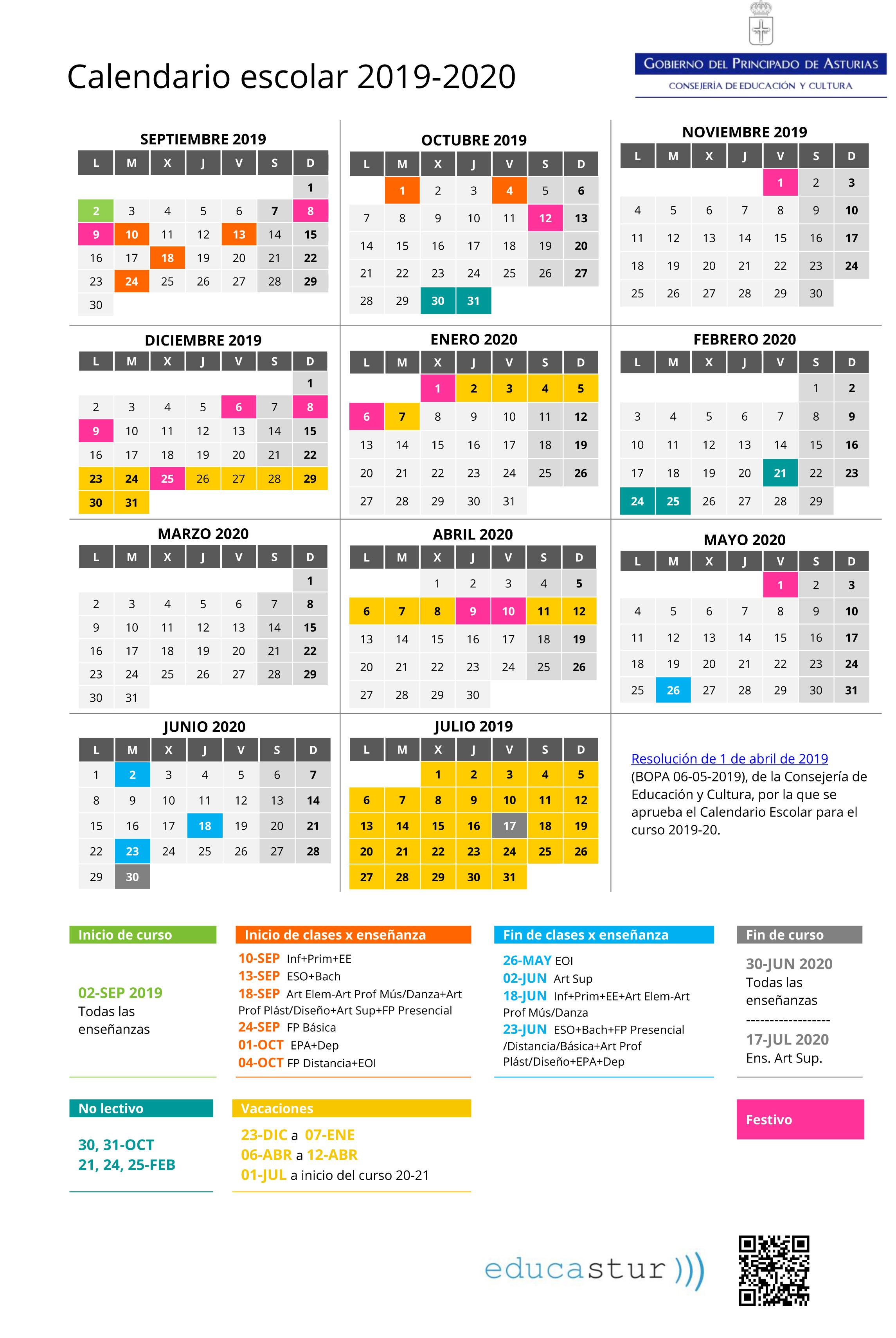 Calendario Escolar 18 19 Asturias.Calendario Escolar 19 20 Colegio Santo Angel De La Guarda